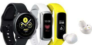 Samsung Galaxy Watch Active, Galaxy Buds, Galaxy Fit
