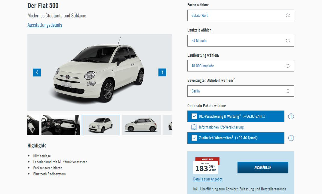 wynajem długoterminowy Fiat 500