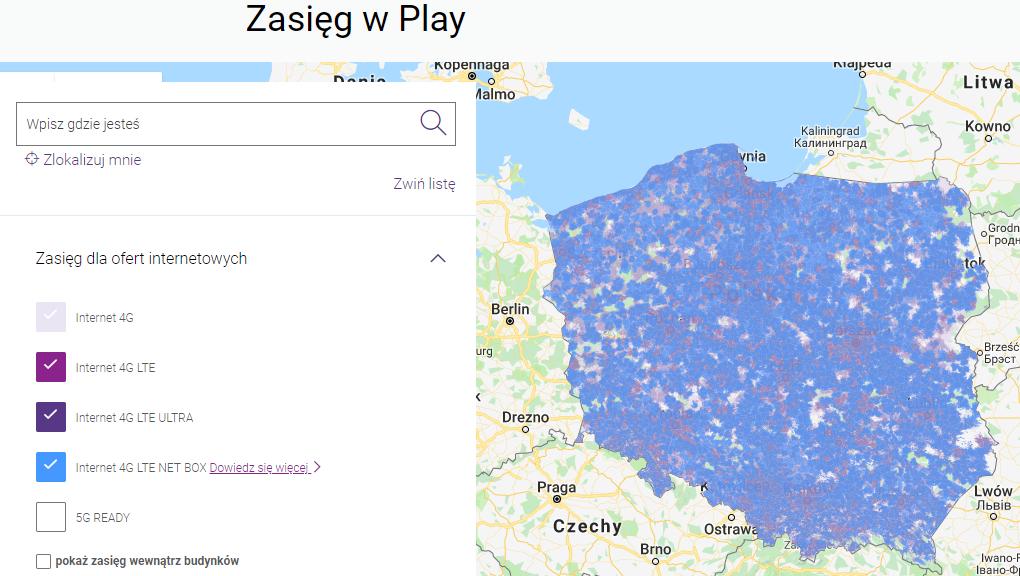 Mapa zasięgu 4G Play