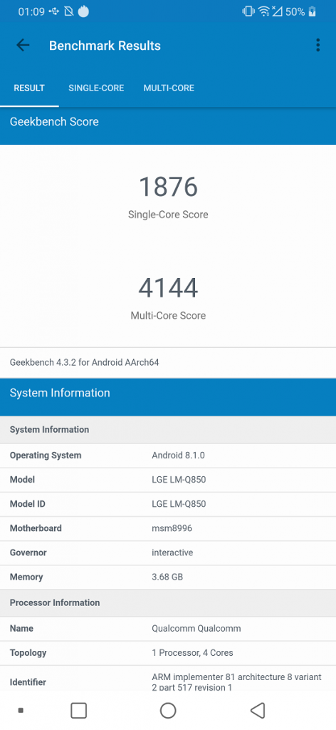 geekbench lg g7 fit
