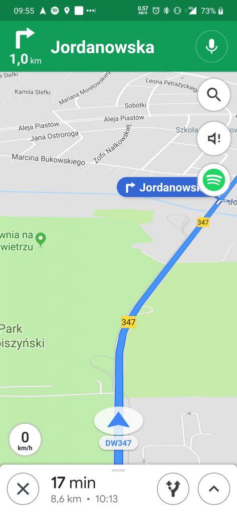 mapy google prędkość