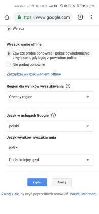 zmiana języka w wyszukiwarce google