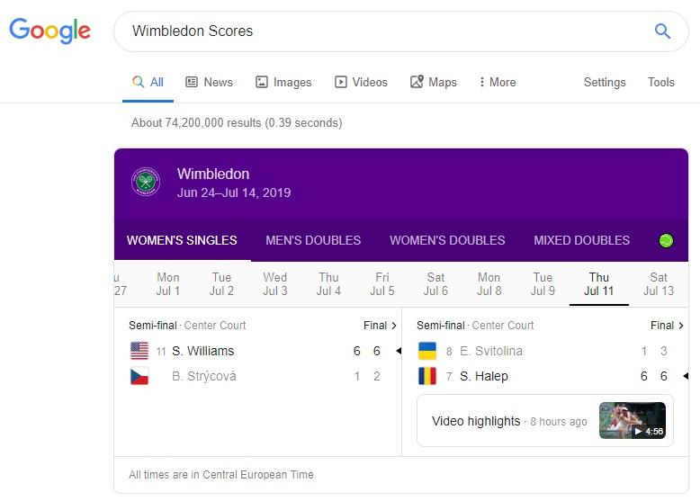 wimbledon scores w wyszukiwarce