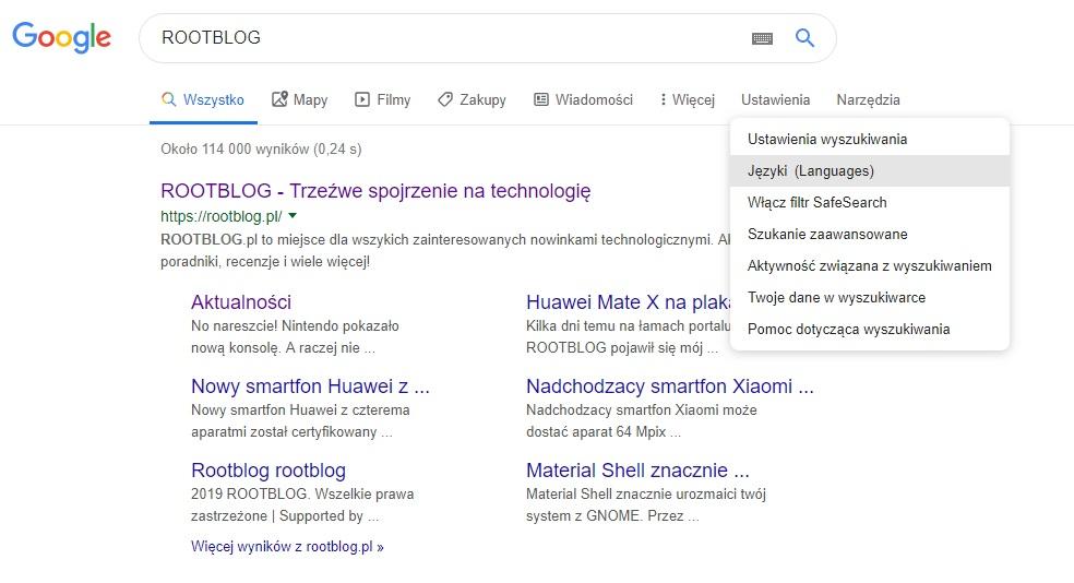 zmiana języka wyszukiwarki google na komputerze