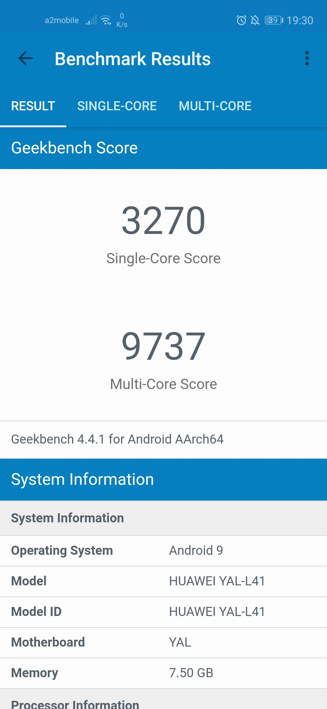 geekbench honor 20 pro