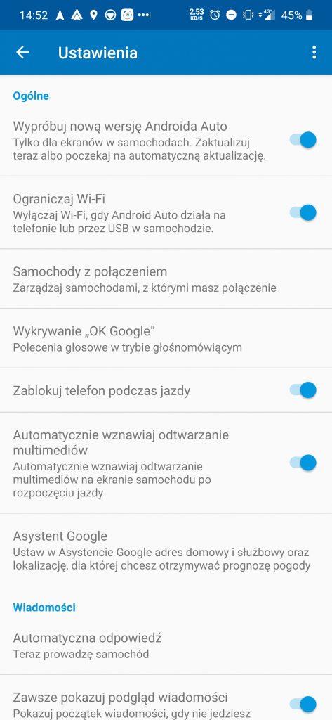 android auto ustawienia
