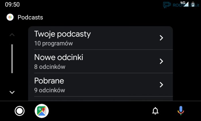 Android Auto nowy interfejs podcasty