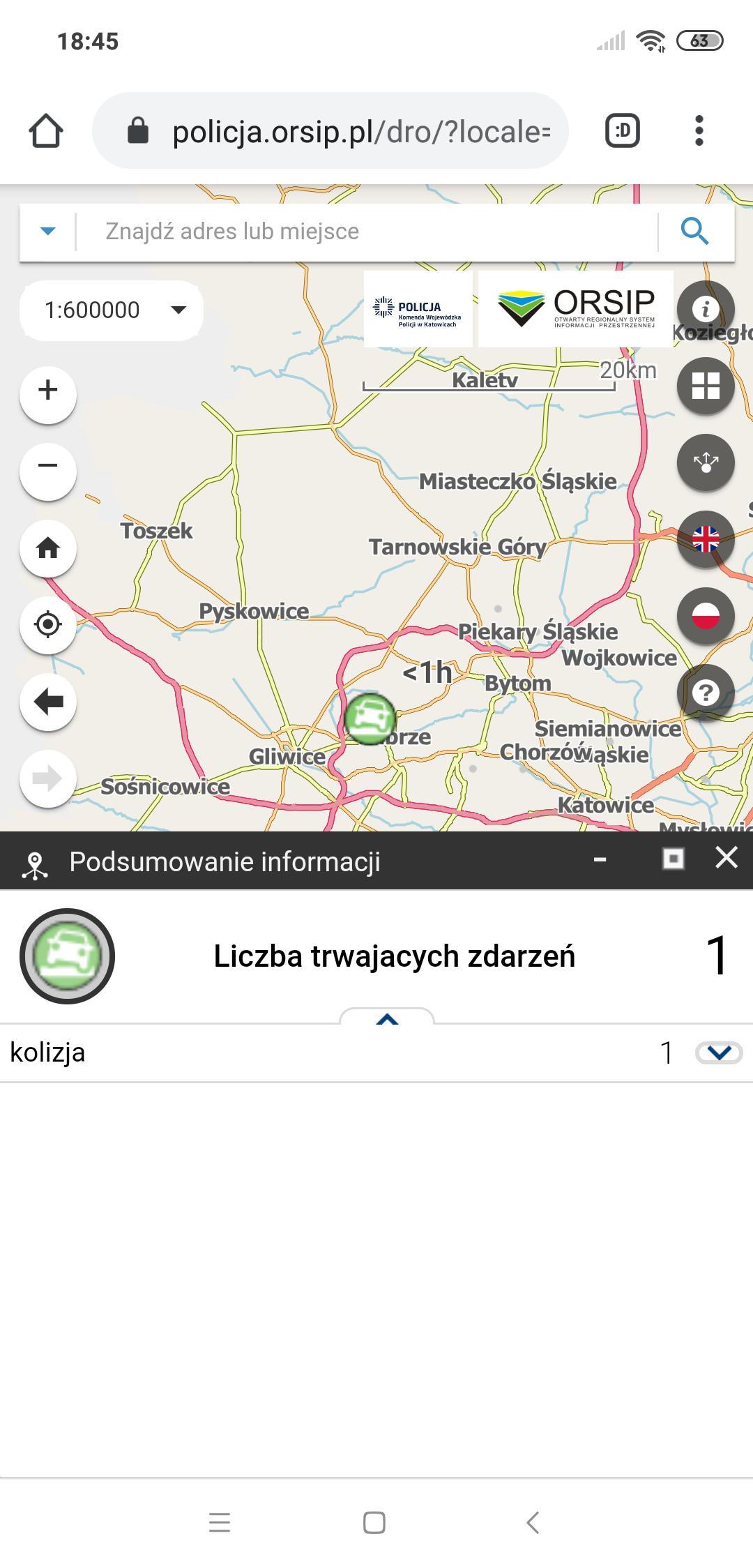 Polska Policja zdarzenia na mapie