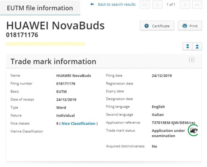 Huawei NovaBuds certyfikacja