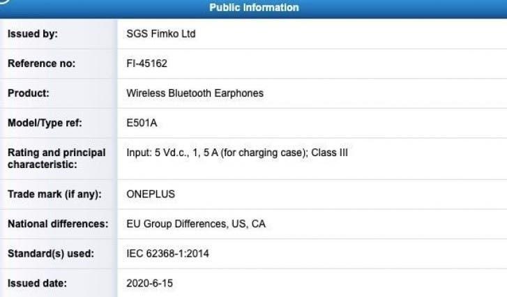 OnePlus Buds certyfikacja