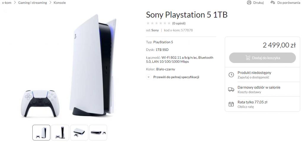 sony playstation 5 przewidywana cena