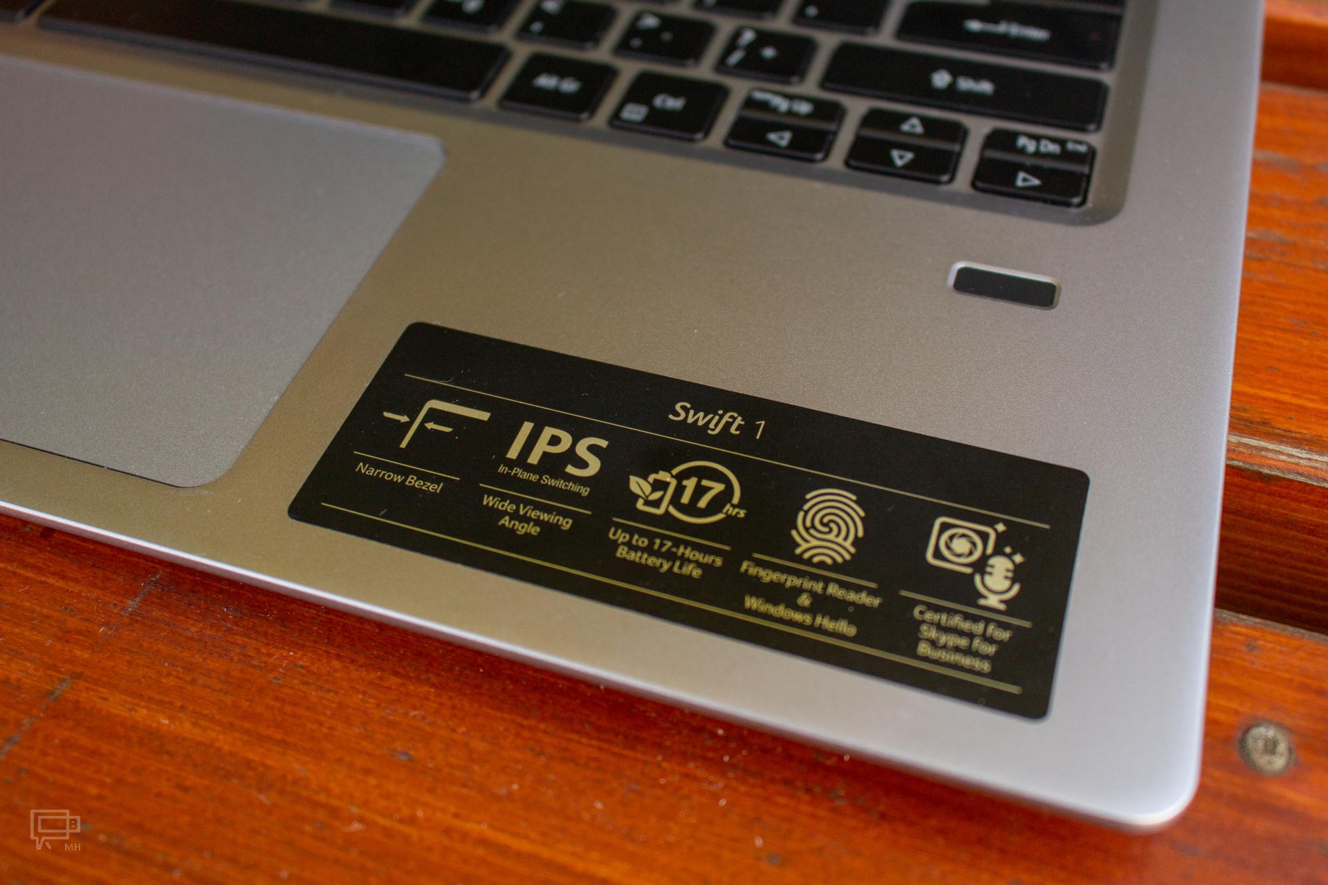 Acer Swift 1 czytnik linii papiarnych